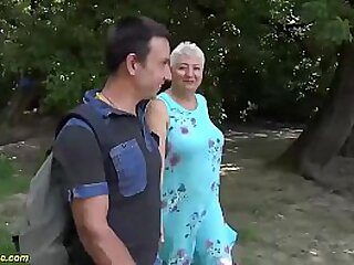 extreme sexy chubby big natural breast grandma gets rough public beach fucked by her horny stepson